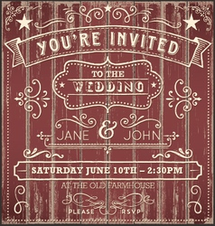 Vintage Country Wedding Invitation vector image