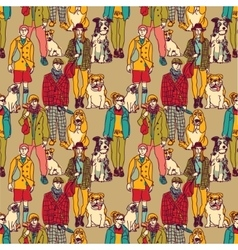 Walking people and dogs color seamless pattern vector image