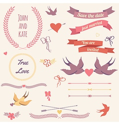 Wedding set with birds hearts arrows ribbons vector