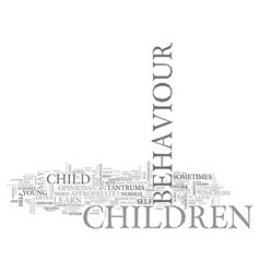 what is difficult child behaviour text word cloud vector image vector image
