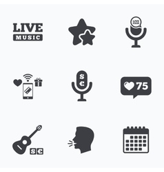 Musical elements icon microphone live music vector