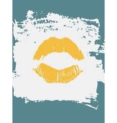 Decorative greeting card with lipstick kiss vector