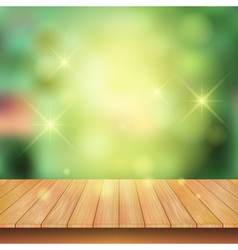 Wooden board with spark light and nature green vector