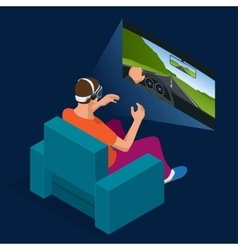 Young man is playing racing video game in 3d vector