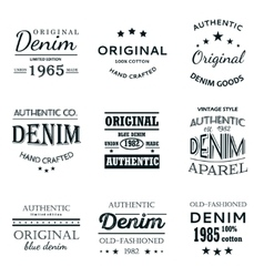 Classical denim jeans typography emblems vector image