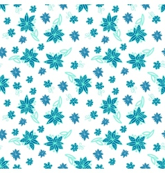 Vintage blue and white floral seamless pattern vector