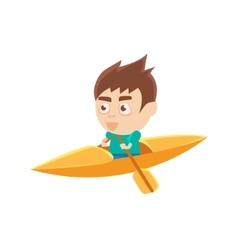 Boy sportsman kayaking part of child sports vector