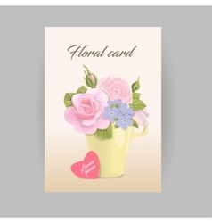 Floral vertical romantic card bouquet in vector