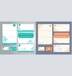 Modern stationery set pattern and template vector