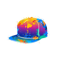 Splash of watercolors baseball cap vector