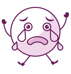 Crying face emoticon kawaii character vector