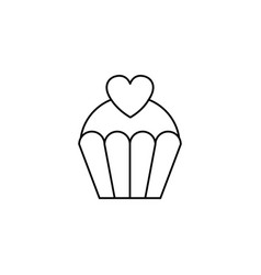 Love cake with heart line icon sweets vector