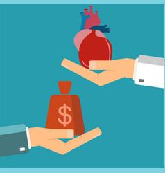 Concept of organ transplant buying heart hand vector