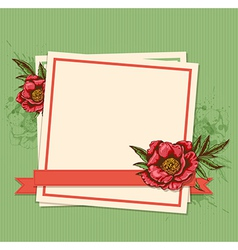 Frame and red peony vector