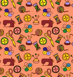 Cartoon hand drawn seamless pattern with sewing vector