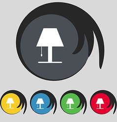Lamp icon sign symbol on five colored buttons vector