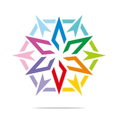 Abstract logo star symbol hexagon design vector