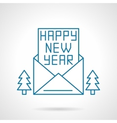 Happy new year greetings thin line icon vector