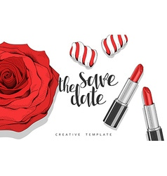 Beauty background with roses petals sweets stylish vector