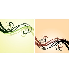 Red and green flourishes vector