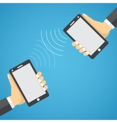 Two mobile devices connected together vector