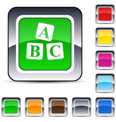 abc cubes square button vector image vector image