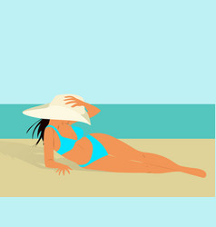 Beautiful girl in bikini and hat on a beach vector