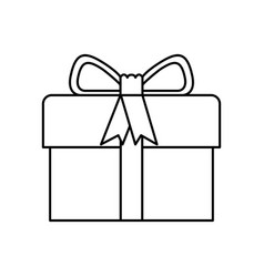 Black silhouette of gift box with decorative vector