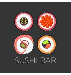 Black sushi bar food logo template vector