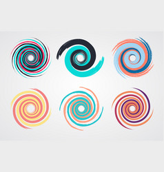 color spiral swirl set circle vector image vector image