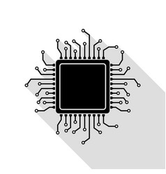 cpu microprocessor black icon with vector image vector image