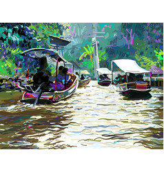 Digital painting of thailand river plein air vector