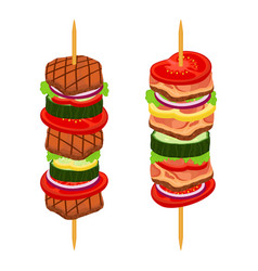 Doner kebab shashlik in cartoon flat style vector