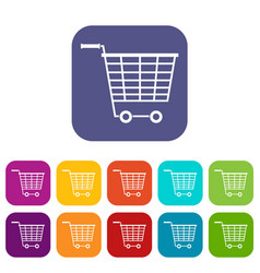 Empty supermarket cart with plastic handles icons vector