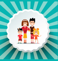 Family on retro background vector