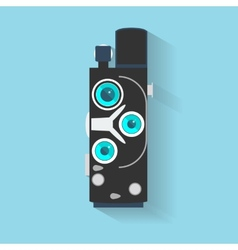 Flat design long shadow icon of vintage camera vector image