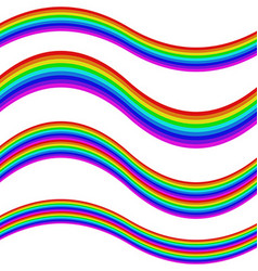 Graphic element set - rainbow striped ribbons vector
