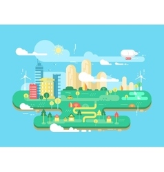 Green city flat vector image vector image
