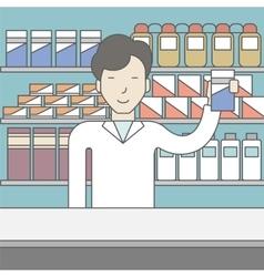 Happy asian pharmacist vector
