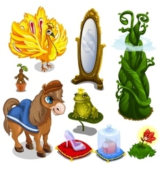 Horse bird frog and magic items vector