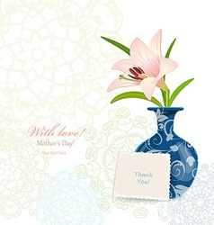 Invitation card with lovely flower in vase for vector