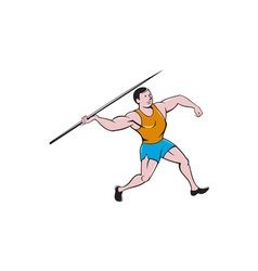 Javelin throw track and field cartoon vector
