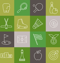 linear sport icons set vector image vector image