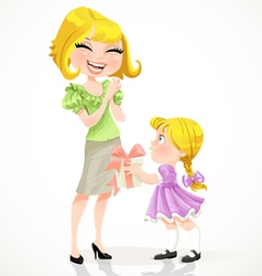 Little daughter gives mom a gift for Mothers Day vector image vector image