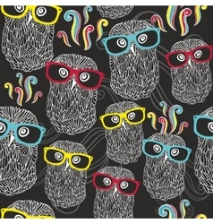 Night seamless pattern with disco owls in vector