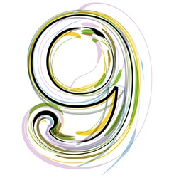 Organic font number 9 vector