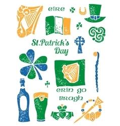 Patricks Day symbol set in lino style vector image