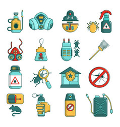 Pest control tools icons set cartoon style vector