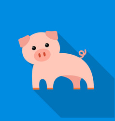 pig flat icon for web and mobile vector image vector image