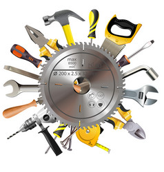 Saw blade with tools vector